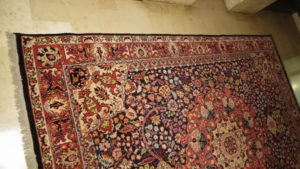 Brzeg dywanu po obszyciu wełną