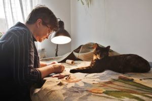 I and my cat in the home studio