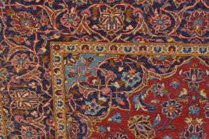Lewa strona dywanu z widocznym wzorem